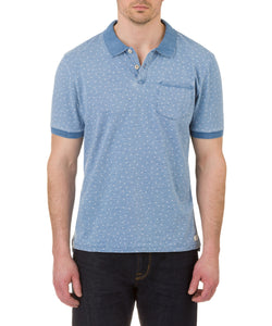 Heritage Short Sleeve Dot Print Indigo Knit Polo in Blue