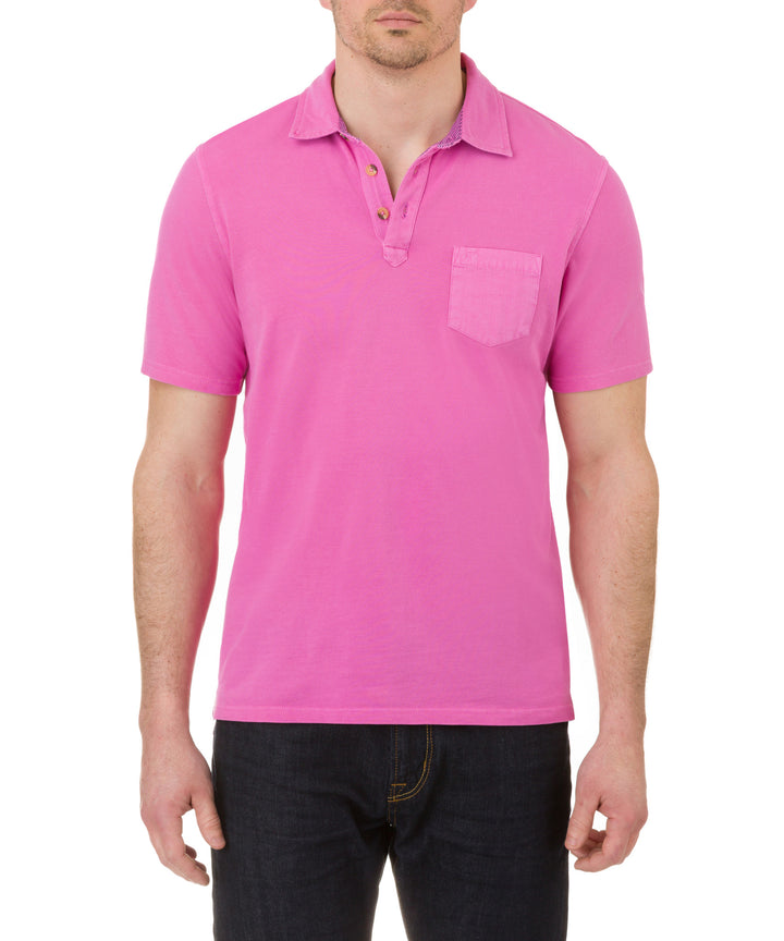 Heritage Short Sleeve Garment Dye Pique Polo in Pink