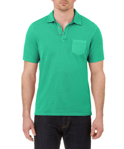 Heritage Short Sleeve Garment Dye Pique Polo in Green