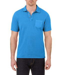 Heritage Short Sleeve Garment Dye Pique Polo in Cobalt