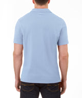 Heritage Short Sleeve Garment Dye Pique Polo in Light Blue