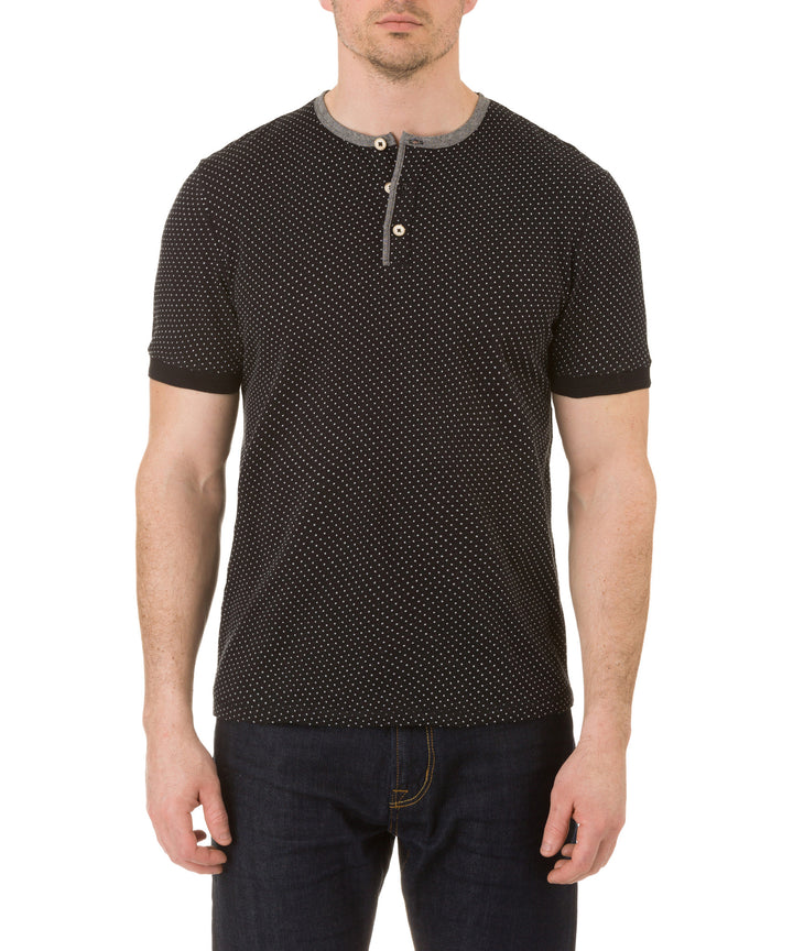 Report Collection Short Sleeve Dot Henley T Shirt in Black