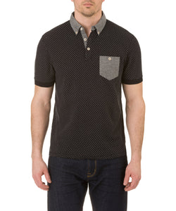 Report Collection Short Sleeve Dot Button Down Polo in Black