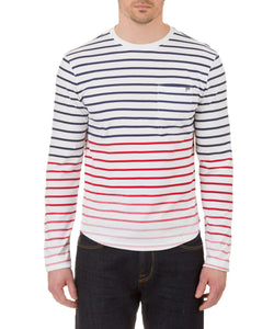 Heritage Long Sleeve Multi Col. Print Stripe Crew T in White