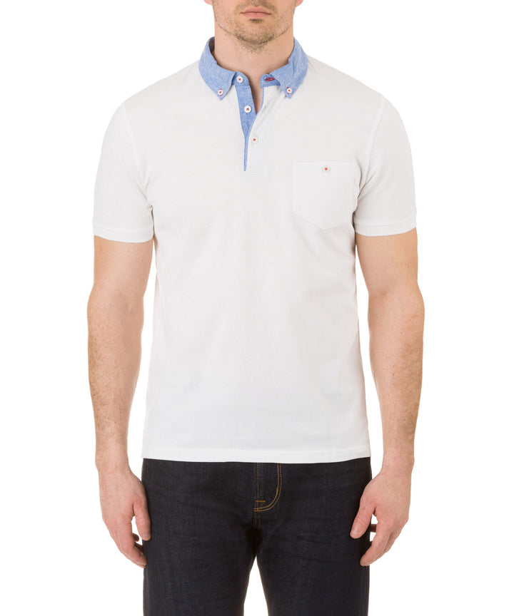 Report Collection Short Sleeve  Cotton Polo in White