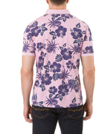 Report Collection Short Sleeve Floral Print Jersey Polo in Pink
