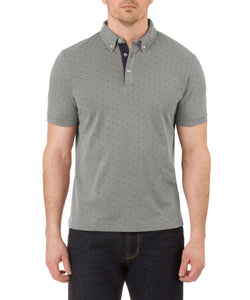 Report Collection Short Sleeve Motif Print Jersey Polo in Light Grey