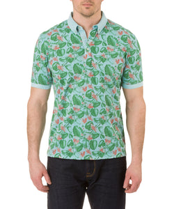 Report Collection Short Sleeve leaf  Print Jersey Polo in Ocean