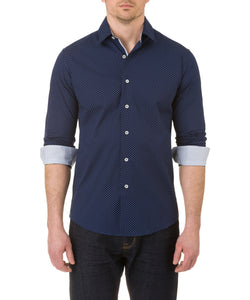 Report Collection Long Sleeve Circle Print Dress Shirt in Navy
