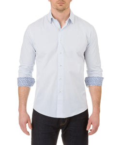 Report Collection Long Sleeve Blue Diamond Print Dress Shirt in White