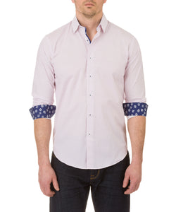 Report Collection Long Sleeve Circle Dot Print Dress Shirt in Pink
