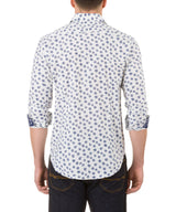 Report Collection Long Sleeve Stretch Sunflower Print Dress Shirt in White