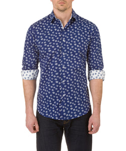 Report Collection Long Sleeve Stretch Sunflower Print Dress Shirt in Navy