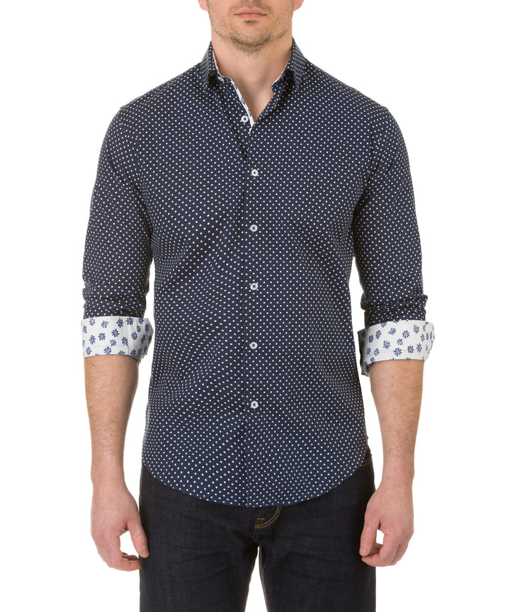 Report Collection Long Sleeve Stretch Polka Dot Print Dress Shirt in Navy