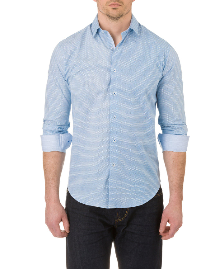 Report Collection Long Sleeve Stretch Link Print Dress Shirt in Blue