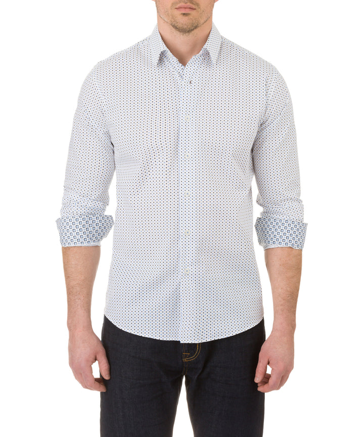 Report Collection Long Sleeve Bicolor Dot Print Dress Shirt in White