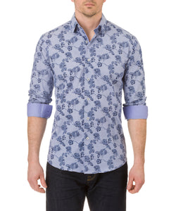 Report Collection Long Sleeve Floral Print Dress Shirt in Navy