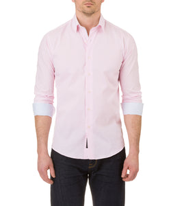 Report Collection Long Sleeve Filled Diamond Print Dress Shirt in Pink