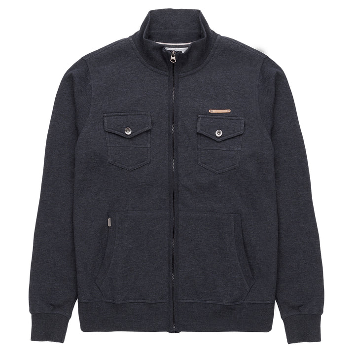 Heritage Zip Front Jean Style Fleece Jacket in Indigo