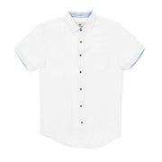 Report Collection Short Sleeve Linen Cotton Textured Structured Sport Shirt