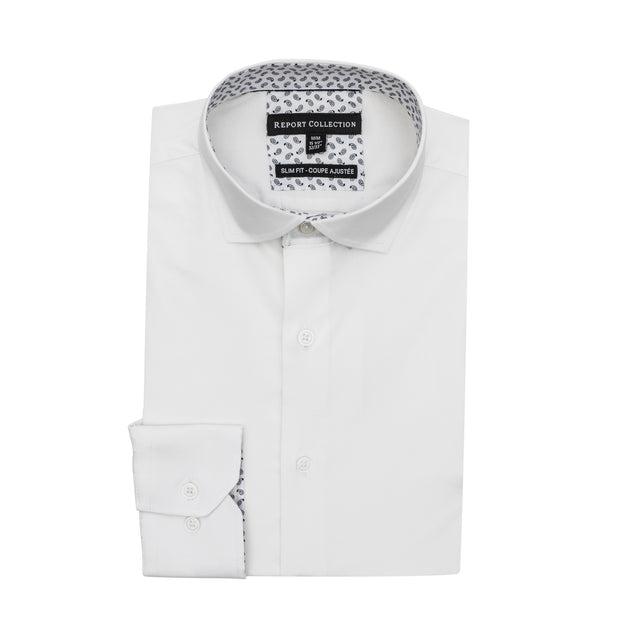 Report Collection Long Sleeve Stretch Poplin Solid Dress Shirt