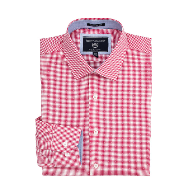 Report Collection Long Sleeve Vichy Dobby Dress Shirt