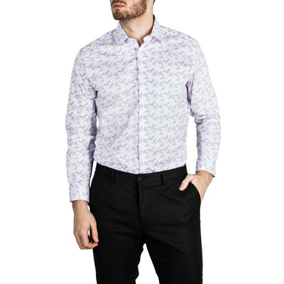 Report Collection Long Sleeve Paisley Print Stretch Dress Shirt