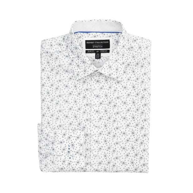 Report Collection Long Sleeve Floral Print Stretch Dress Shirt