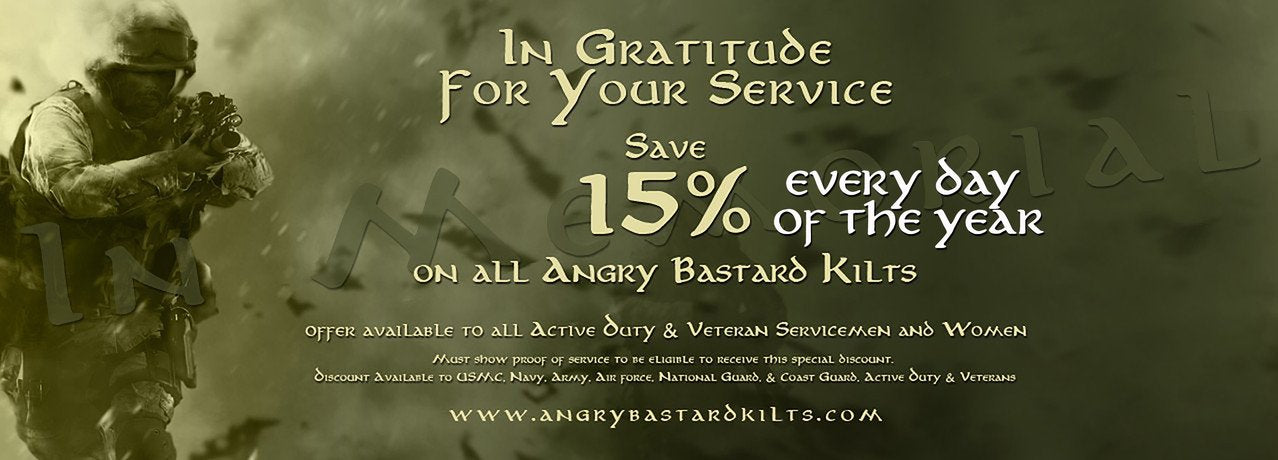 15% off Angry Bastard Utility Kilts
