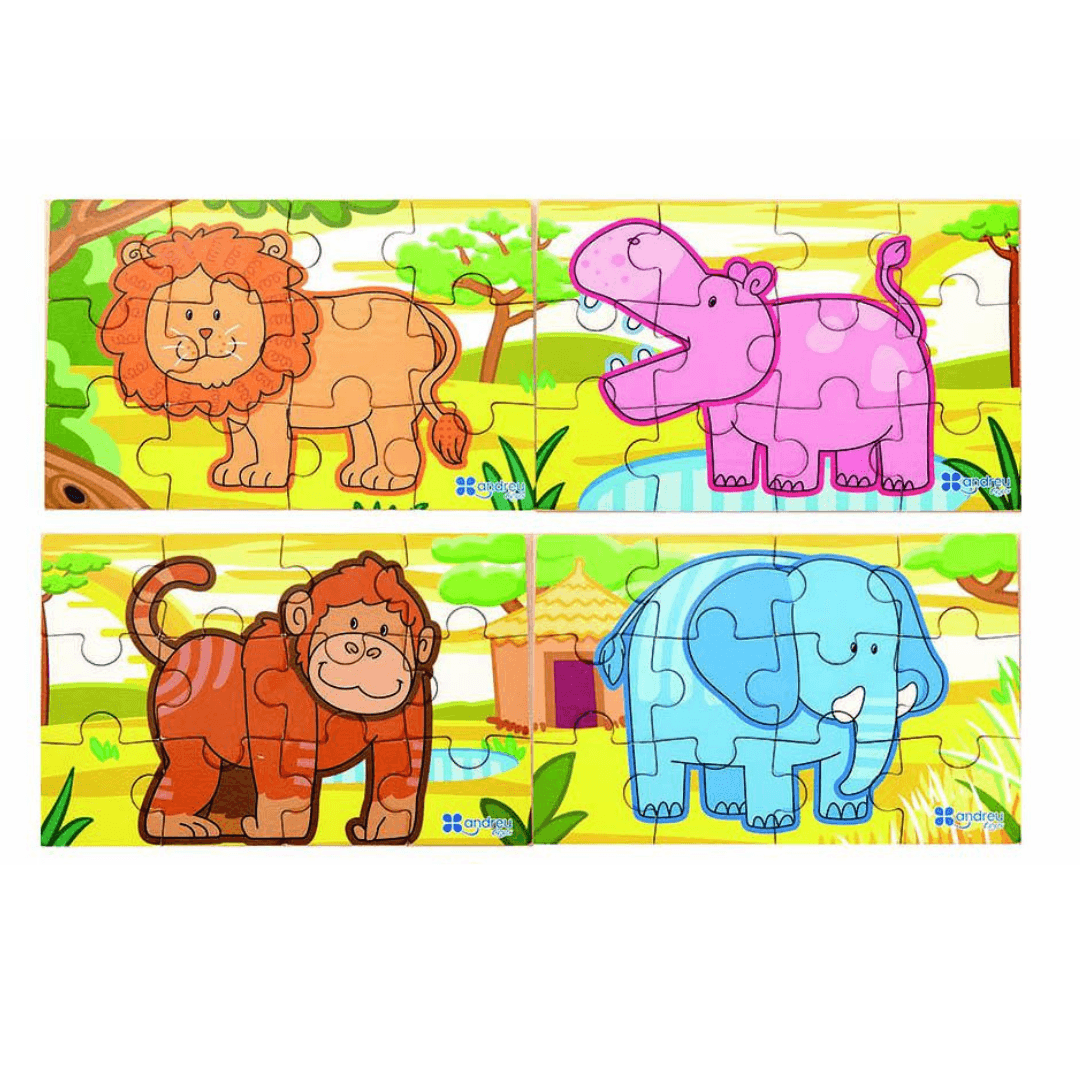 4 in 1 Jigsaw Puzzle - Wild Animals