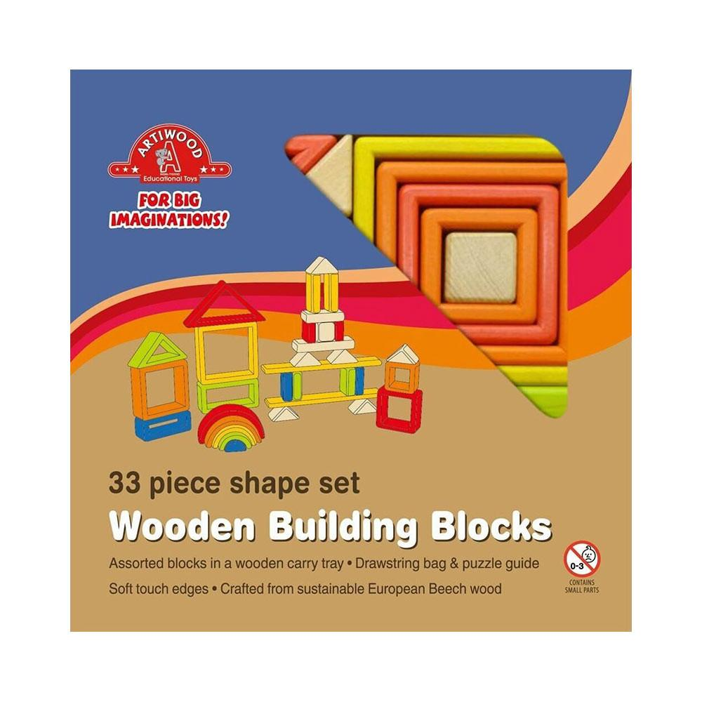 33 Piece Wooden Block Tray
