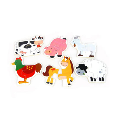 Kaper Kidz - Wooden Farm Animal Puzzle - Set of 6 - CleverStuff