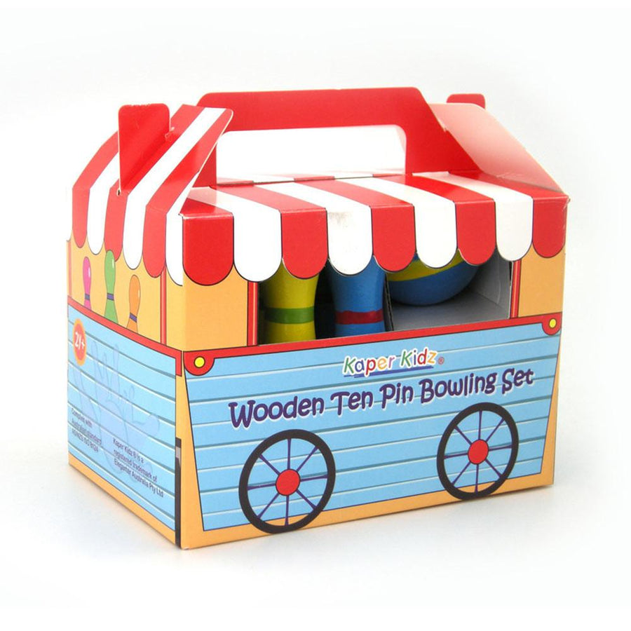 Kaper Kidz - Wooden Ten Pin Bowling Set - CleverStuff