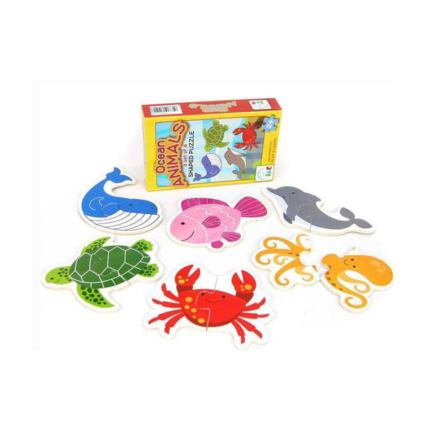 Kaper Kidz - Wooden Ocean Animal Puzzle - Set of 6 - CleverStuff