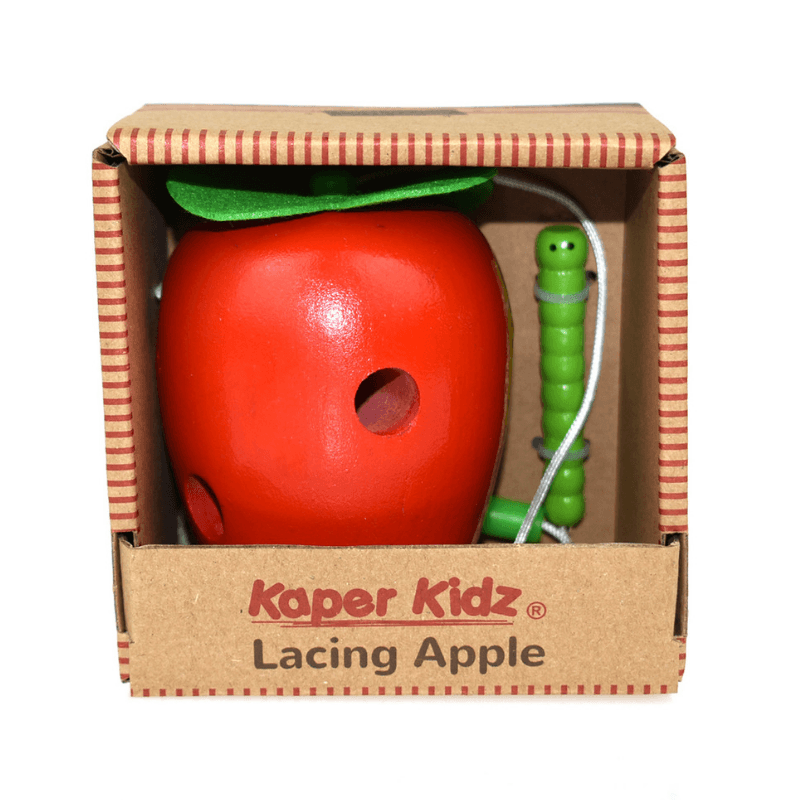 Wooden Lacing Apple with Worm