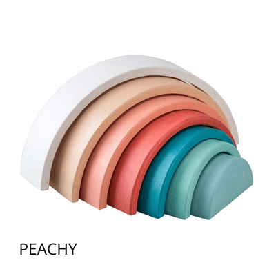 Wooden Stacking Rainbow - PEACH / BLUE