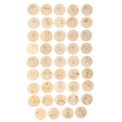 Sign Language Wooden Discs - 44 pieces