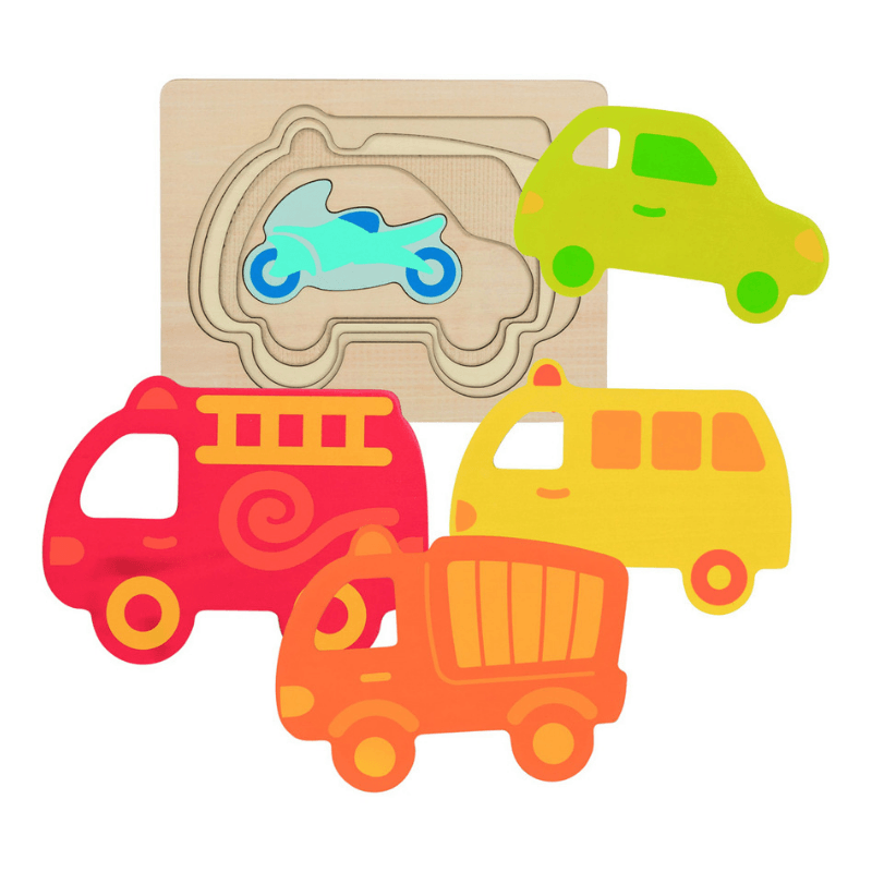 Layered Colourful Vehicle Puzzle