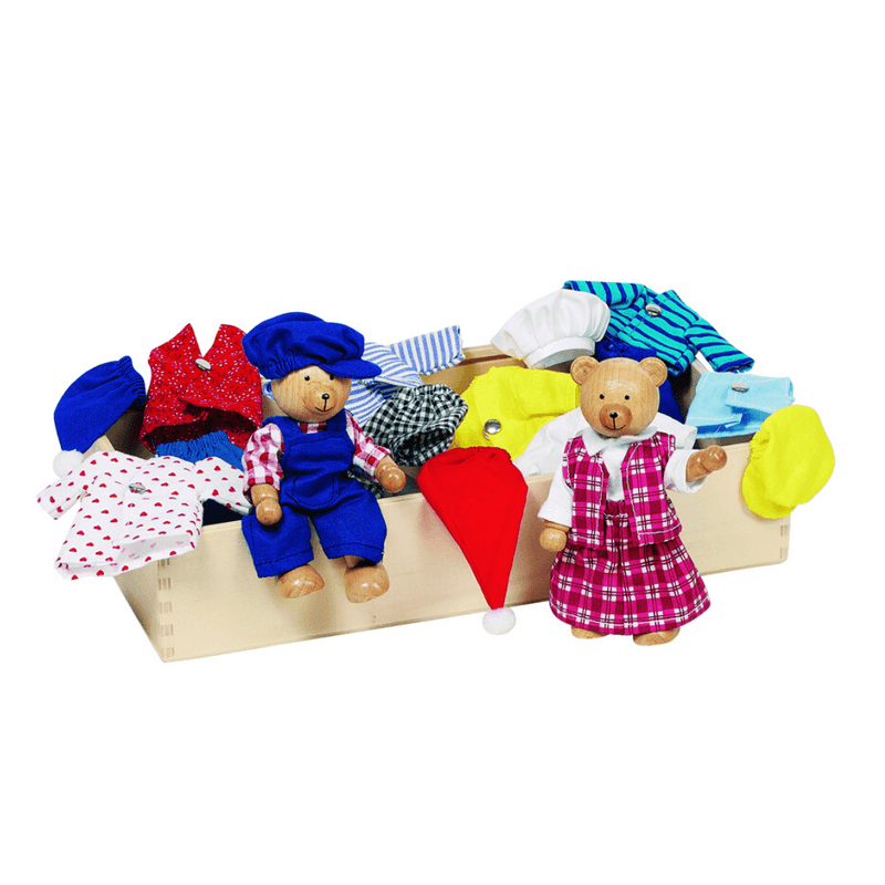 Dress Up Bears with box of clothing