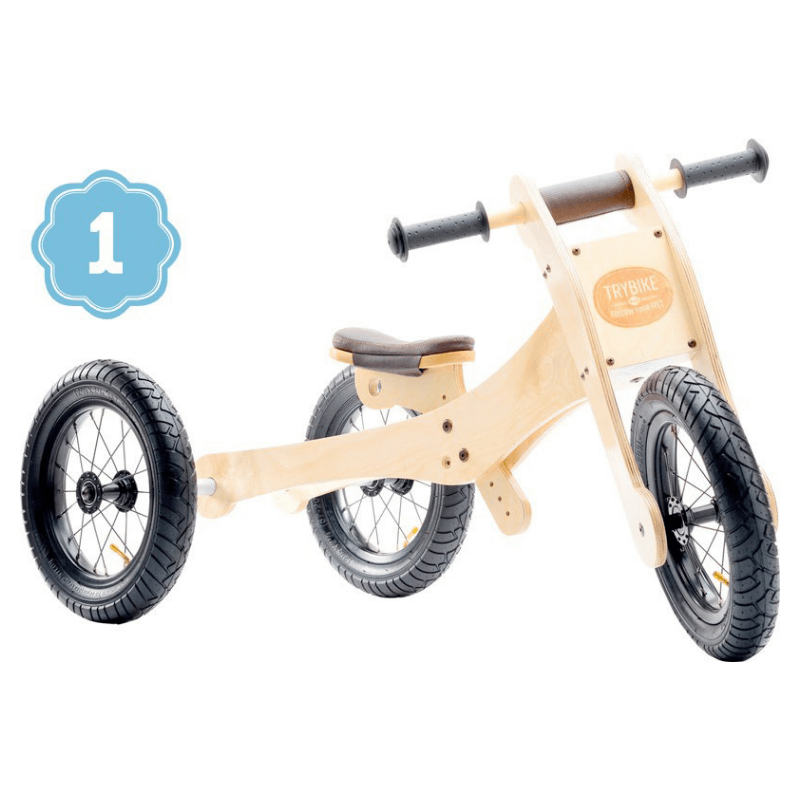 Wooden 4 in 1 Trybike - Brown