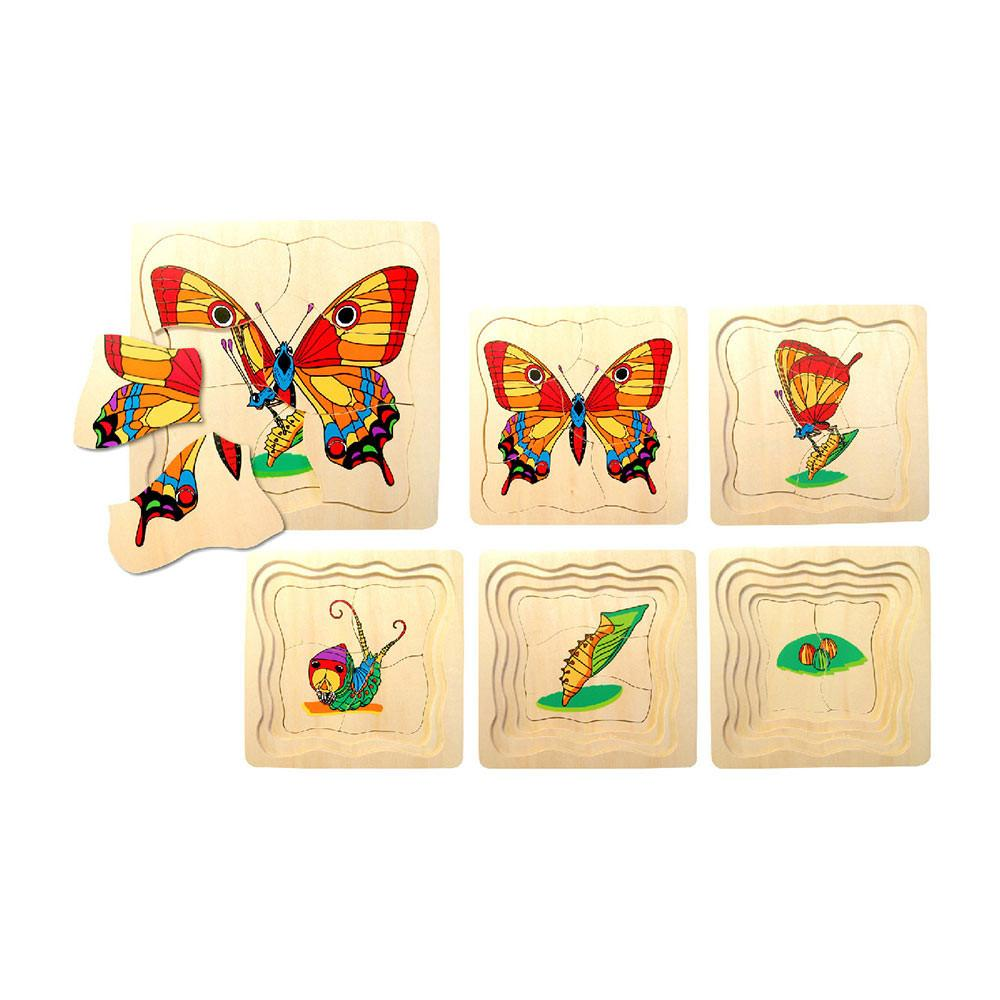 Fun Factory - Wooden Butterfly Lifecycle Puzzle - 5 layer - CleverStuff