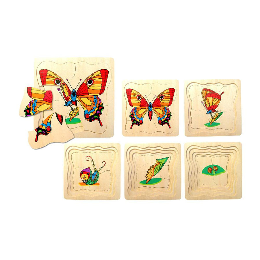 Wooden Butterfly Lifecycle Puzzle - 5 layer