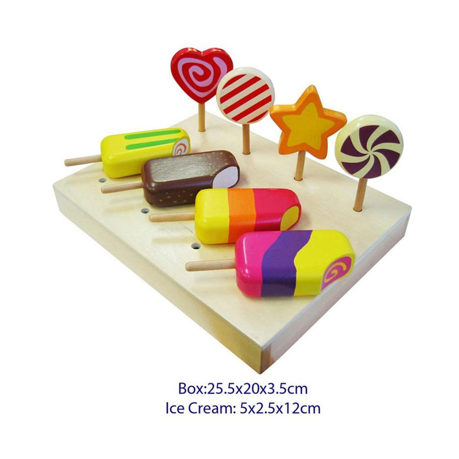 Fun Factory - Wooden Ice Cream & Lollipop 8pce Set - CleverStuff