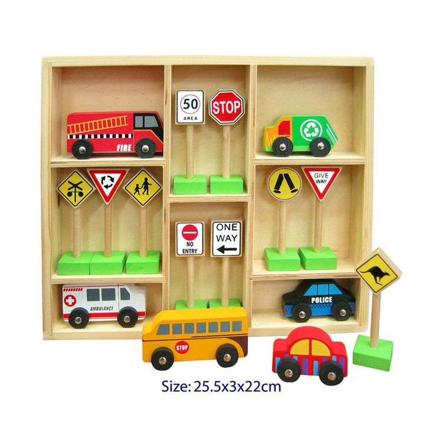 Wooden Car & Traffic Sign Set in a Tray