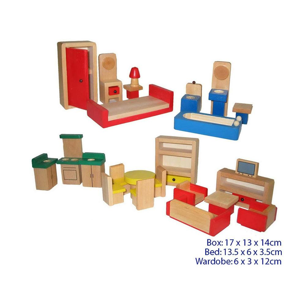 Wooden Dolls House Furniture Set - 26 pce!