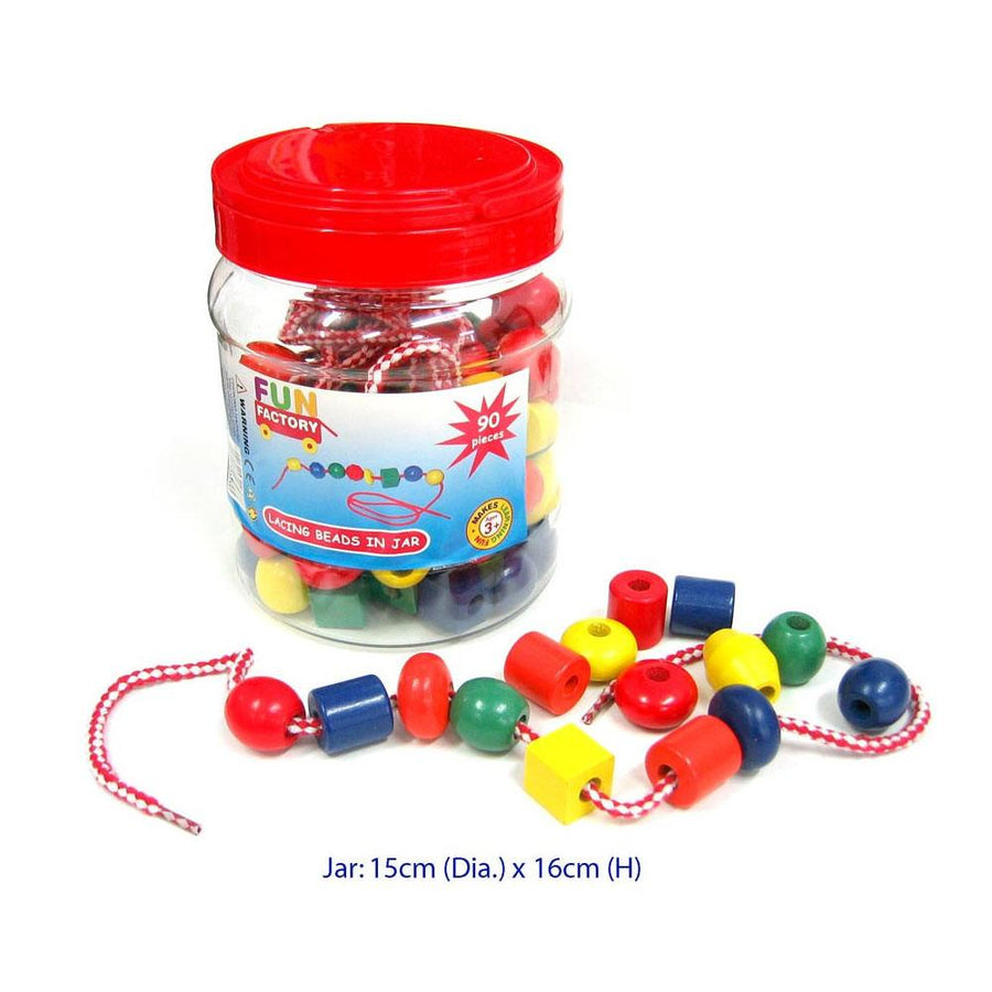 Fun Factory - Lacing Beads in a Jar - 90pce - CleverStuff