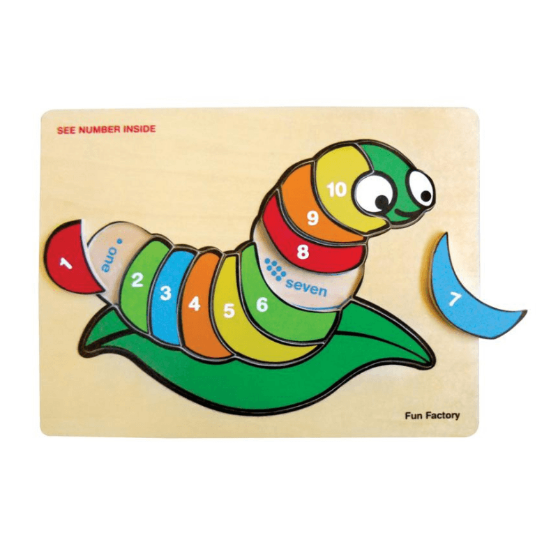 Raised Silk Worm Number Puzzle