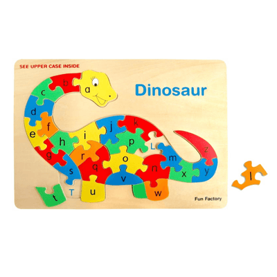 Raised Wooden Dinosaur Alphabet Puzzle
