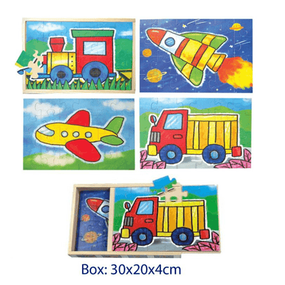 Box of 4 Vehicle Puzzles - 24 pieces each