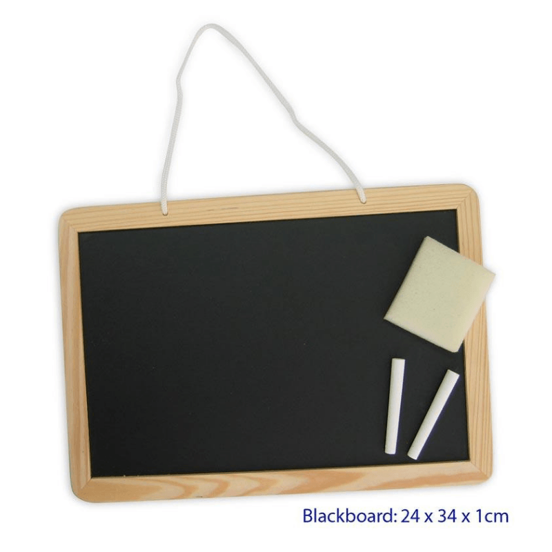 Blackboard with Duster and White Chalk